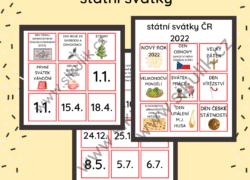 Státní svátky- kartičky+ paměťové hry