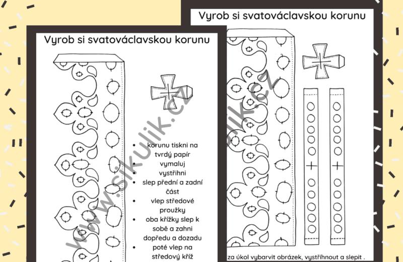 Omalovánka+ vystřihovánka SVATOVÁCLAVSKÁ KORUNA
